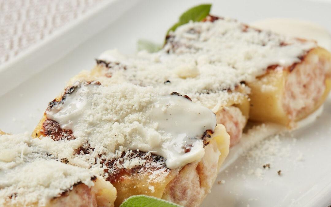 Pâtes au four avec jambon cuit, ricotta et parmesan