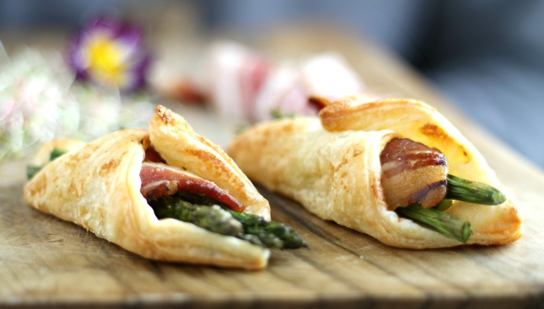 Bundles of savory puff pastry with bacon